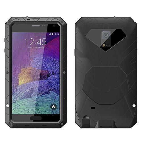 Galaxy Note 4 Case,MAKEIT Hard Metal Corning Gorilla Glass Shockproof/Dustproof/Watertherproof Cover Case For Samsung Galaxy Note 4 (1-Black)