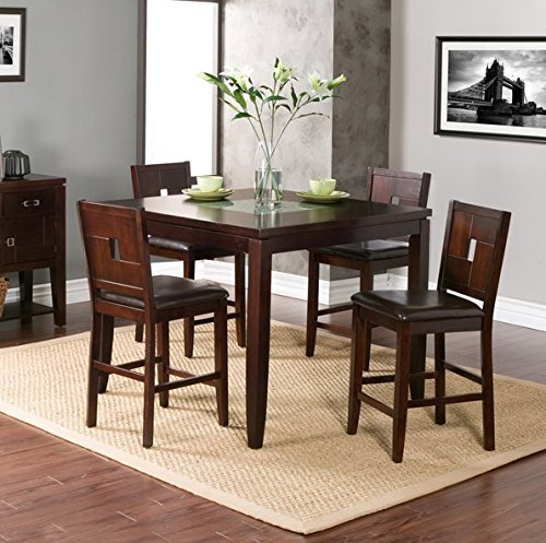 Modern Wood Counter Height Dining Table with Four Chairs