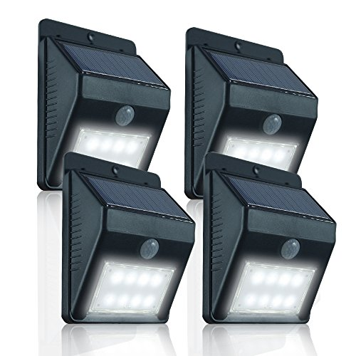 eTopLighting, Pack of 4, PIR Motion Sensor Solar Panel Outdoor Porch Security Wall Light with 8 Bright LED Daylight Lights, APL1334