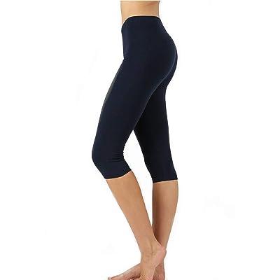 Zenana Premium Cotton Regular and Plus Size 15 INCH Capri Leggings at Women's Clothing store