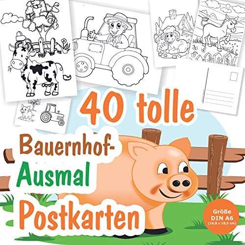 40 x Postkarten zum Ausmalen mit Bauernhof Motive, für Kinder ab 3 Jahren, 40 verschiedene Motive mit Kühe, Schwein, Hühner usw. Tolle Postkarten zum Verschicken!