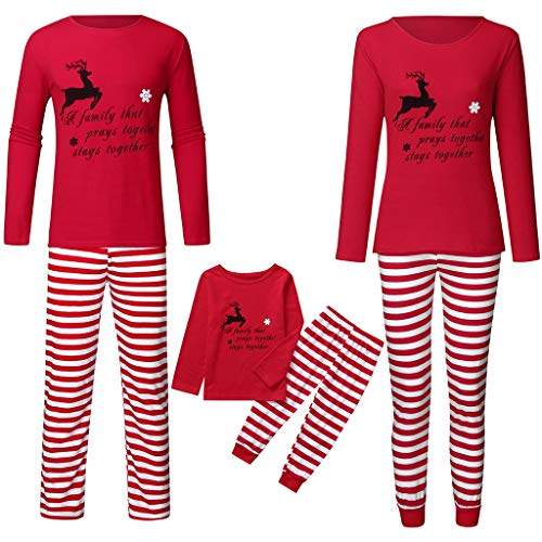 Family Matching Christmas Pajamas Set,Crytech Comfy Soft Red Elk Letter Print Sleepshirt Top and Striped Lounge Pant Parent Children Kids Xmas Holiday Sleepwear Pjs Outfit Clothes (2X-Large, Dad)