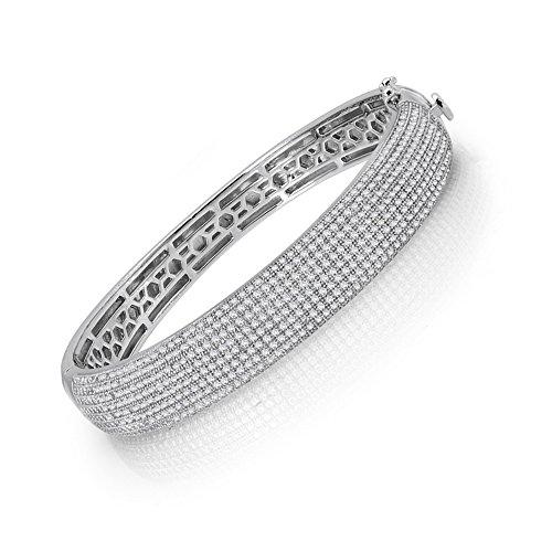Micro Pave CZ épaisseur Signity Multi-rangs pour femme Bracelet S.. massif 925.