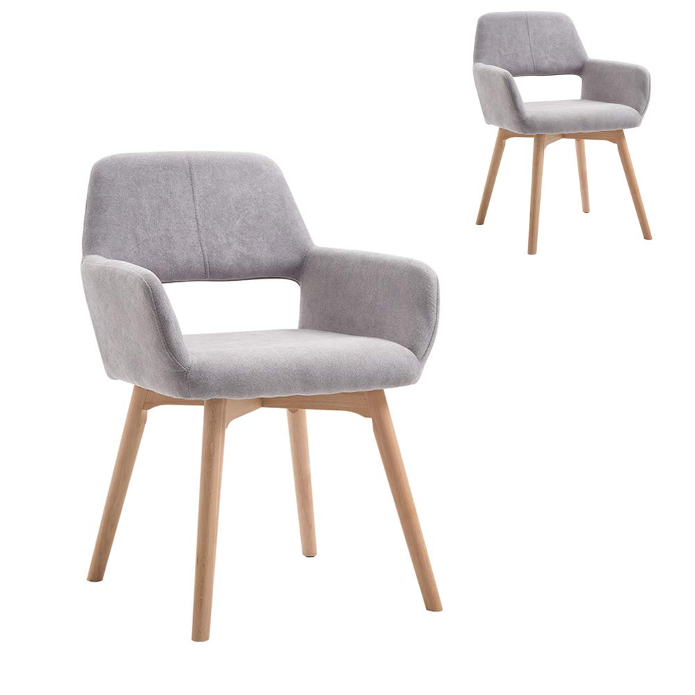 Lansen Furniture (Set of 2) Modern Living Dining Room Accent Arm Chairs Club Guest with Solid Wood Legs (Grey) by Lansen Furniture