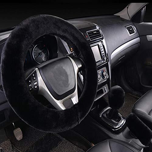 SHIAWASENA Warm Faux Wool Steering Wheel Cover with Handbrake Cover & Gear Shift Cover 3 Pcs Set -