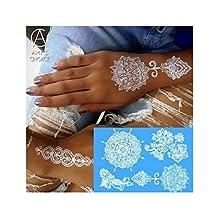 Waterproof Temporary Tattoo Metallic Gold Silver White For India Henna Tattoo Love Flower Pattern