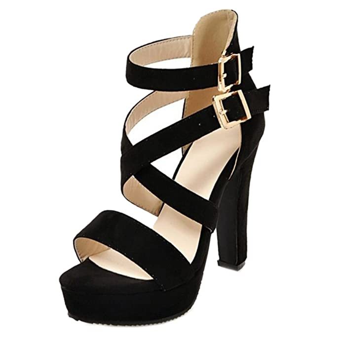 Smilice Trending Plus Size Sandal Women High Block Heel Cross Strap Open Toe Shoes   B071J1D4KY