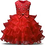 NNJXD Girl Dress Kids Ruffles Lace Party Wedding Dresses Size 3-4 Years Red(110)