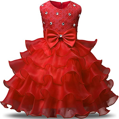 NNJXD Girl Dress Kids Ruffles Lace Party Wedding Dresses Size 5-6 Years Red(130) ()