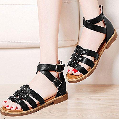 AJUNR-Zapatos De Mujer De Moda Ocio Sandalias De Estudiante La Nueva Hebilla Metálica Zapatos Planos Piso Con Terraza En Verano Y 37 Negro 36