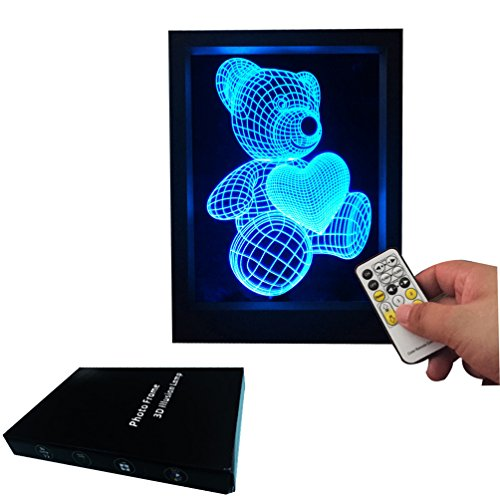 Night Light 3D Optic Led Illusion Lamp 7 Color Visual Cute Bear Photo Frame Remote Control Lighting Kids Living/bedroom Table/desk Flash Lantern For Lovers, Baby, Festival Gift.