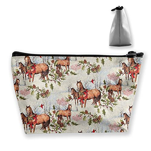 BIKAM Christmas Horses Scenic Makeup Cosmetic Tote Bag Carry Case,Travel Case Cosmetic Bag,Large Enough to Hold Many Things