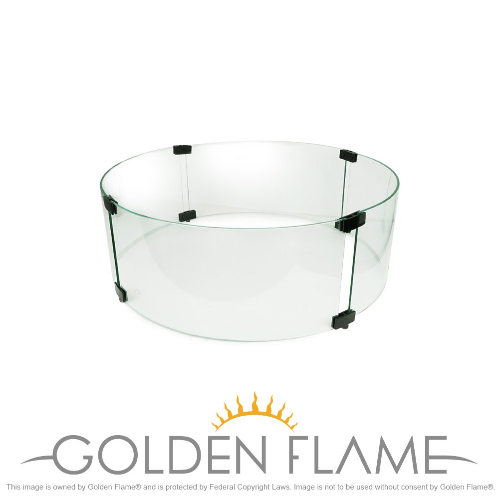 Wind/Flame Guard 22.9'' Round (Fire Resistant Tempered Glass) by Golden Flame