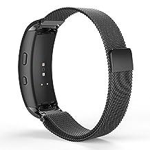 Samsung Gear Fit2 Watch Band, MoKo Milanese Loop Stainless Steel Mesh Bracelet Smart Watch Strap + Connector for Samsung Gear Fit 2 SM-R360 Smart Watch (NOT FIT Gear S2 & S2 Classic), BLACK