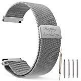 Top Plaza Custom Personalized Message Engrave Silver Watch Band Fully Magnetic Closure Clasp Mesh Loop Milanese Stainless Steel Metal Replacement Band Bracelet Strap for Men's Women's Watch - 20MM