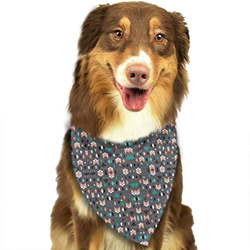 - compass her Geometric Fox and Pine Tree Illustration Pattern F Dog Bandanas Washable Triangle Adjustable Dog Scarf