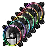 Enermax T.B. RGB 120mm Unique Halo Arc-Shaped Frame RGB LED Case Fan 6 Pack with RGB Control Box, UCTBRGB12-BP6
