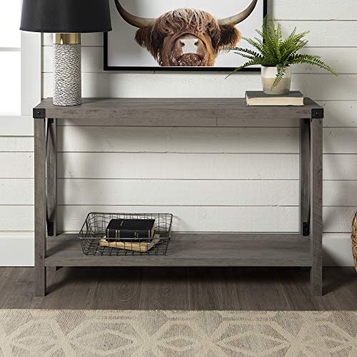 WE Furniture Barnwood Farmhouse Sqaure Accent Entryway Table, 46 Inch, Grey (Tables Hallway Entry And)