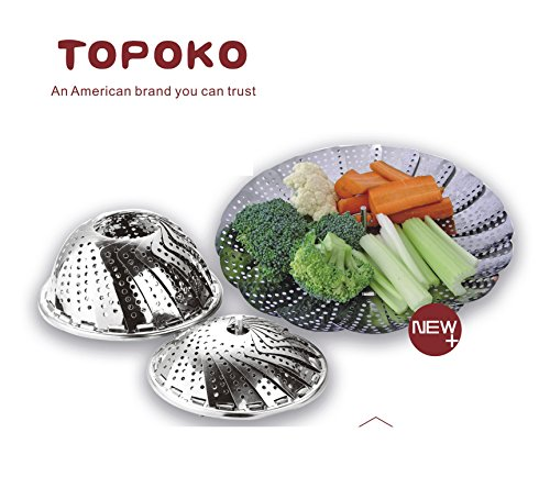 Topoko 100% Stainless Steel Vegetable Steamer, Pasta Steamer, Folding Collapsible Basket for Various Size Pots