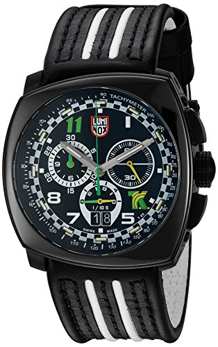 Luminox Men's 1142 Tony Kanaan Limited Edition Analog Swiss Quartz Black Leather Watch