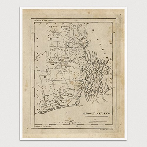 19th Reproduction Century (Old Rhode Island Map Art Print, 1816, Archival Reproduction, Unframed)