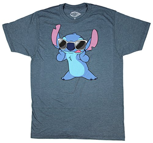 (Disney Lilo and Stitch Sunglasses Famous T-Shirt (Large, Navy)