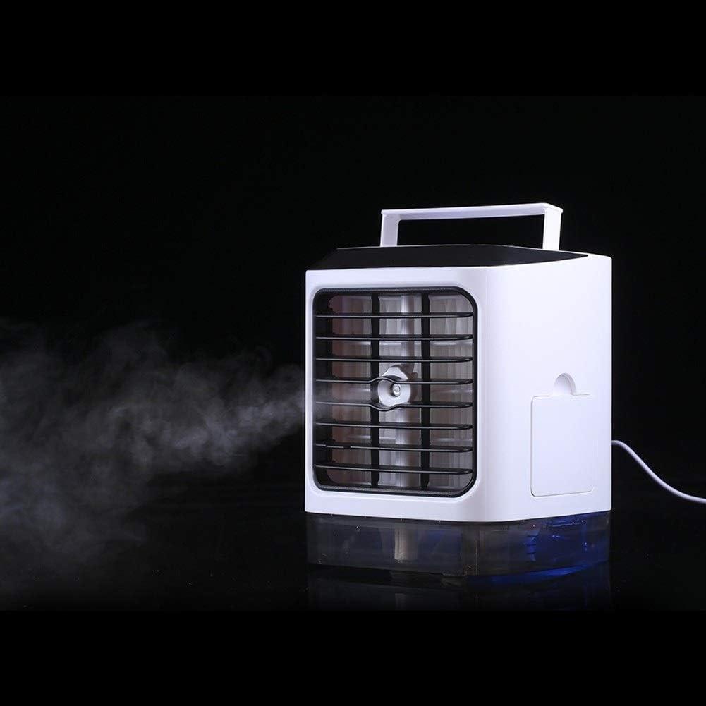 Mini Portable Cooling Fan Mini Portable Fan USB Desktop Air Cooling Fan with LED Light Color : White, Size : No Remote