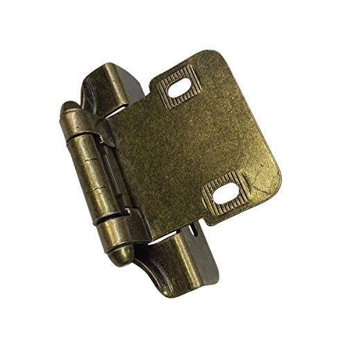 Richelieu Hardware - BP2051MAE - Pack of 2 units - Traditional  - Self-Closing Hinge with 6.35mm (1/4 inch) Overlay - Partially Enveloping Hinge - Antique Brass  - Cabinet Richelieu Hinges