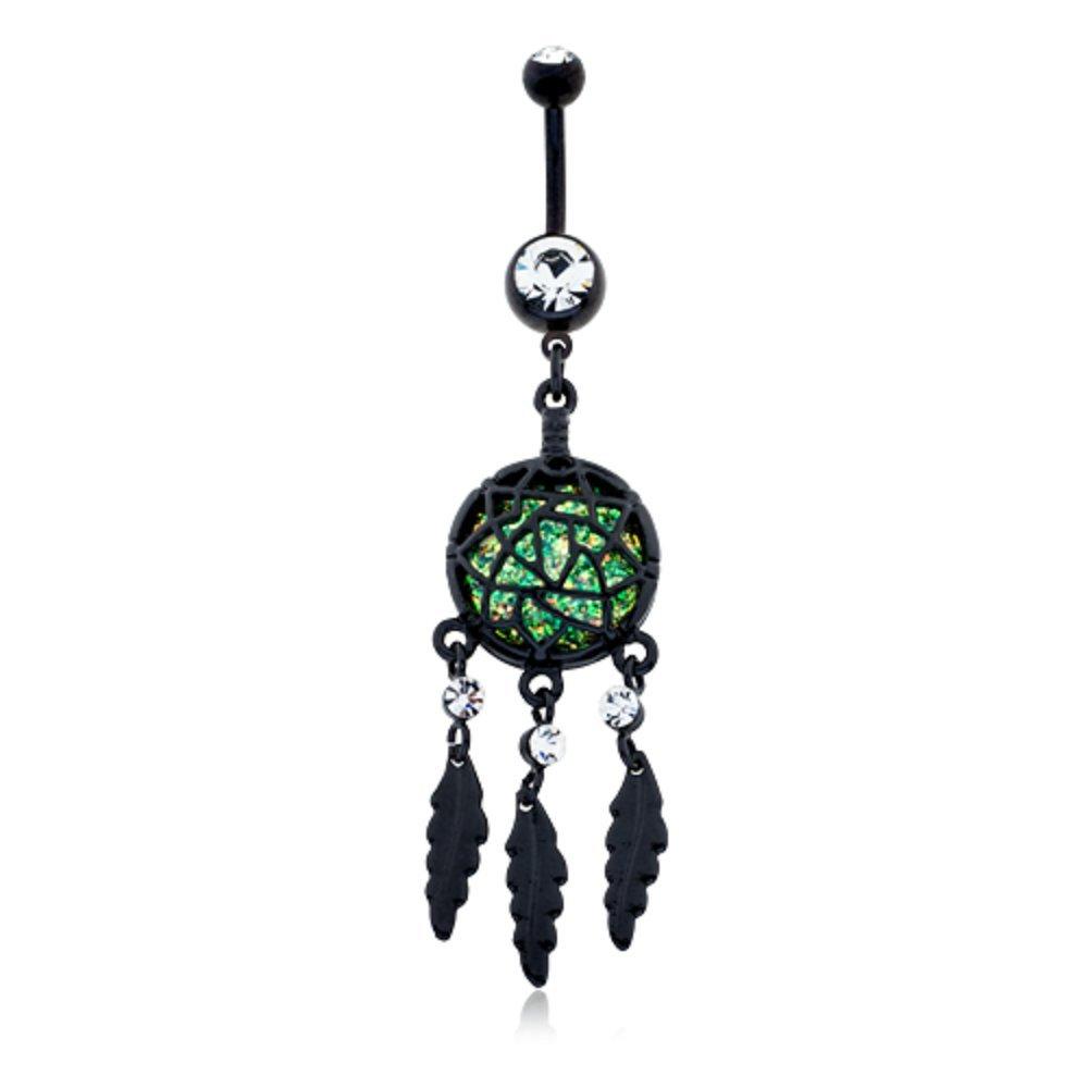 Blackline Opal Dreamcatcher Feather WildKlass Belly Button Ring