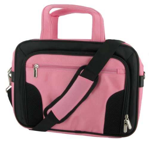 rooCase Acer TravelMate 6293-6640 12.1-Inch Laptop Carrying Case - Pink / Black Deluxe Bag