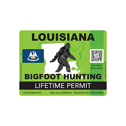 Louisiana Bigfoot Hunting Permit Sticker Die Cut Decal Sasquatch Lifetime FA Vinyl