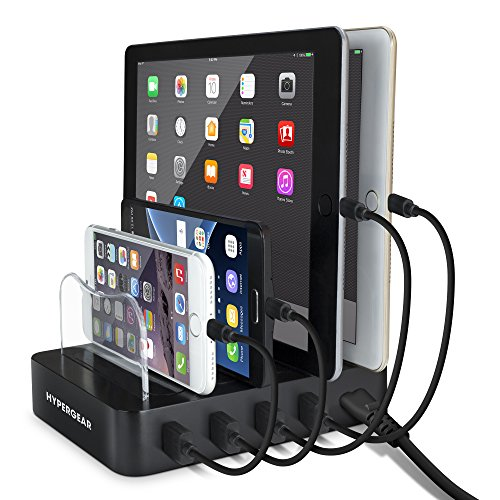 HyperGear Universal 4-Port Charge & Docking Station, Individually Charge 4 Devices Simultaneously with Smart Chip Technology, Powerful 22W/4.4A O/P for iPhone 8/8Plus, Galaxy S9/S9+/S10, iPad & More ()