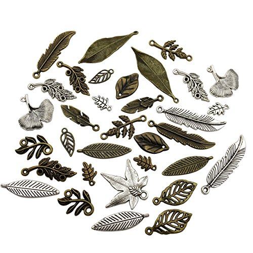 100g Craft Supplies Mixed Leaf Charms Pendants Beads Charms Pendants for Crafting, Jewelry Findings Making Accessory For DIY Necklace Bracelet (Leaf charms M92)