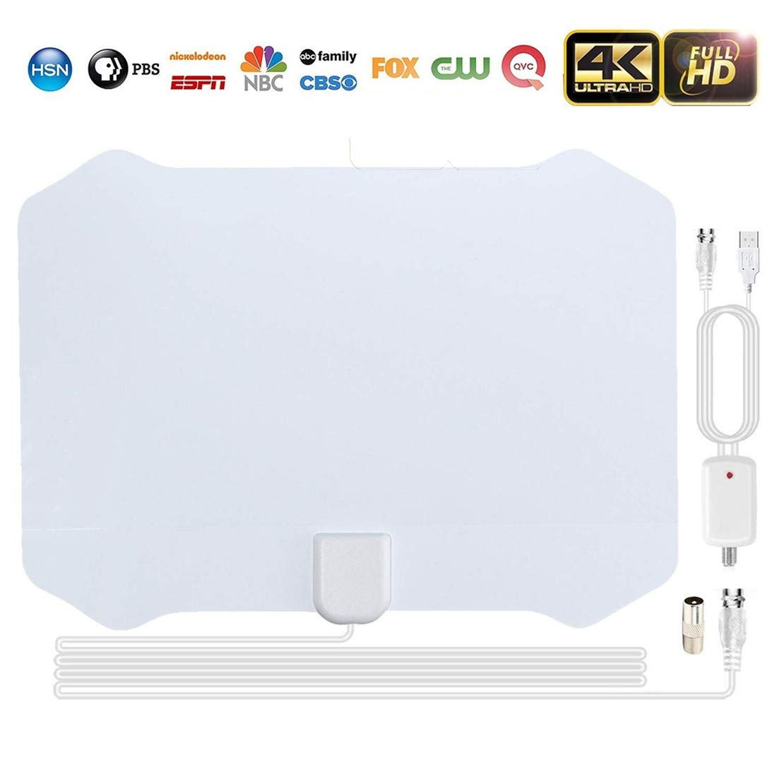 Indoor TV Antenna Digital 4K HD Aerial 2018 Upgraded Version 1080P 80+ Miles USB Powered Amplified Antenna with Signal Booster for All Types of Home Smart Television. (White) Beegoo