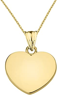 14K Yellow Gold Plain Heart Charm Pendant For Necklace or Chain