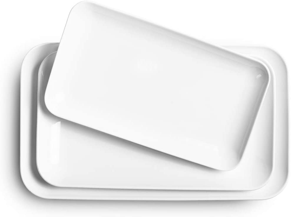 Delling Serving Platter Set -12/14/16inch White Rectangular Dessert/Salad Platters- Large Serving Trays-Dinner Plates Set for Dinner Parties Meat, Sushi, Oven Safe Dinnerware Set of 3