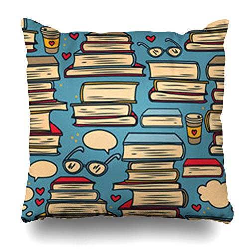 low Cover Love Study Stacks Books Hearts Colours to Pattern School Library Geek Cute Doodle Clever Pillowcase Square Size 16 x 16 Inches Home Decor Sofa Cushion Case ()