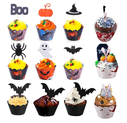 Halloween Bat Cake Picks Cupcake Liners for Halloween Party Cake Decoration Halloween Cupcake Toppers Wrappers 72 Pieces -