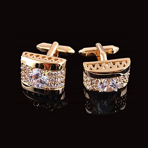 Zadaro Crystal Rhinestone mens dress shirts Cufflinks Elegant Style for Wedding Business Party 1Pair (Gold)