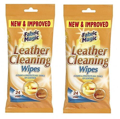 Paquetes de toallitas para limpiar cuero Fabric Magic, 2 paquetes, 24 toallitas.
