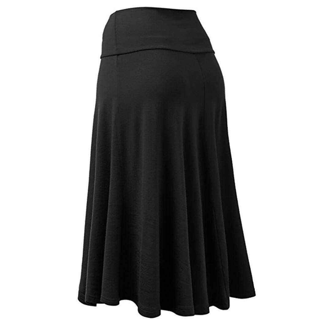 Womens Midi Elastic Waist Maxi Skirt Pleated Elegant Skirt
