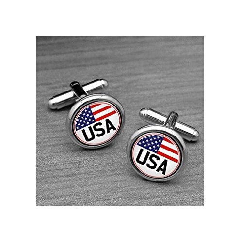 (USA Flag Cufflinks, Star Stript Cufflinks, Vintage Flage Cuff links, Silver/Bronzen Cufflinks, Military Cufflinks)