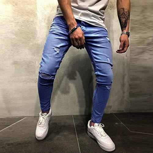 Estivi Men Pantaloni Uomo Distrutti Chern Signori Jeans Slim Uomini Fit Con Fori Dei Blua Black Rilassato Skinny Corridori Stretch Allungare qwXaq15xpr