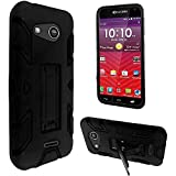 2Layer Shockproof HIP Case Cover with 2Way Stand For Kyocera Hydro Wave C6740 C6740N / AT&T Kyocera Hydro Air C6745 Phone (Full Black)