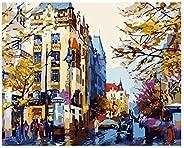 Walory Pintura al óde bricolaje Kit de pintura por números 15.7 * 19.7 pulgadas Imagen resplandor del atardece