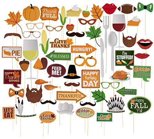 Thanksgiving Photo Booth Props Set - 60-Pack Handheld Photobooth Props, Sticks, and Adhesive Kit, DIY Party Supplies and Decorations -