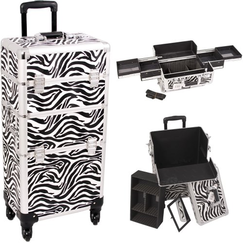 33 Inch Zebra Print 2 in 1 Interchangeable Series Make Up Carrying Tote Cosmetic Train Case Pro Beauty Studio with 4-360 Degree Rotating Wheels and Telescoping Drag Handle