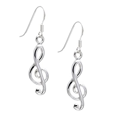 Silverly Womens .925 Sterling Silver Treble Clef Musical Note Stud Earrings uH8XsY