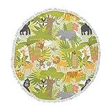 KESS InHouse Petit Griffin Roar of the Jungle Green Animals Round Beach Towel Blanket