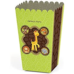 Big Dot of Happiness Personalized Funfari - Fun Safari Jungle - Custom Baby Shower or Birthday Party Favor Popcorn Treat Boxes - Custom Text - Set of 12